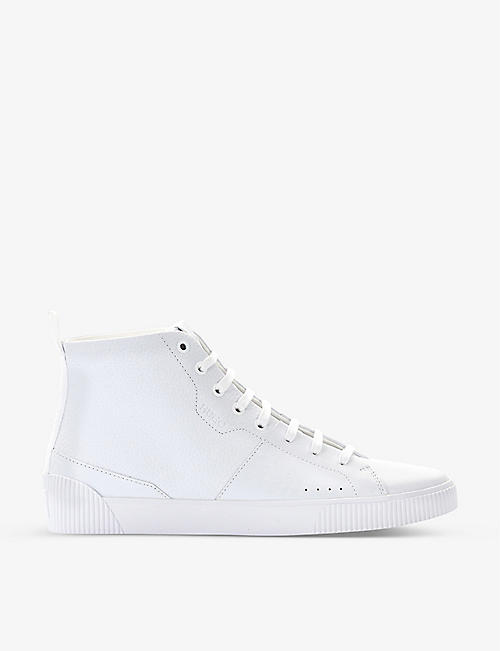 HUGO: Leather high-top trainers
