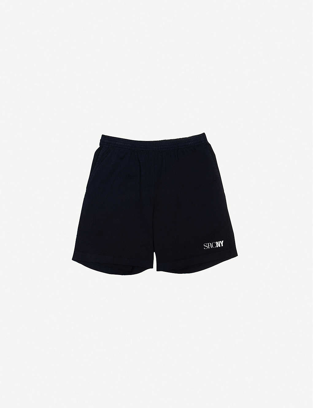 SPORTY & RICH: Logo-print mid-rise cotton-jersey gym shorts