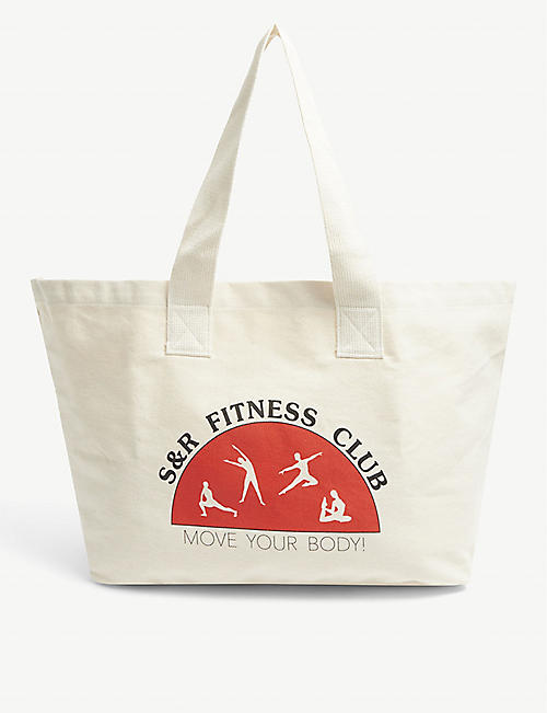 SPORTY & RICH: Logo-print cotton-canvas tote bag