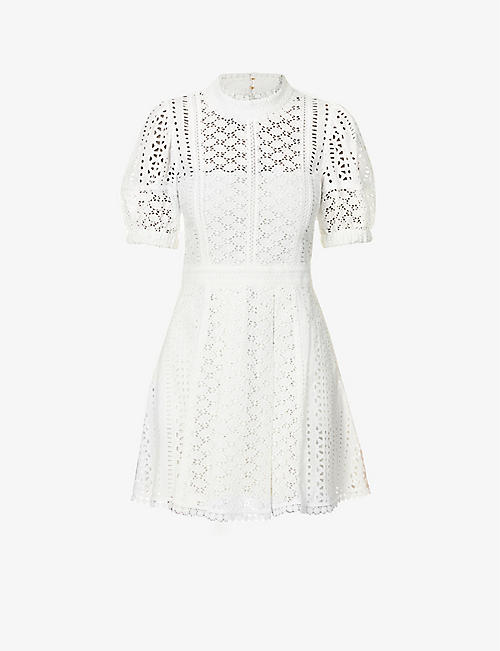 SELF-PORTRAIT: Broderie cotton mini dress