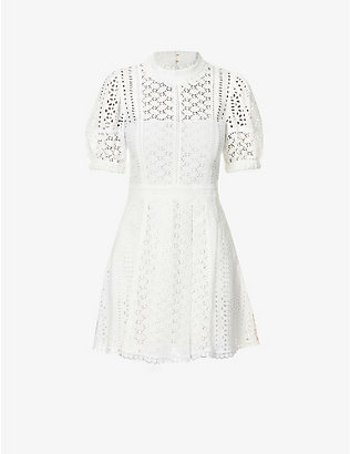 SELF-PORTRAIT: Puff-sleeve floral-pattern cotton mini dress
