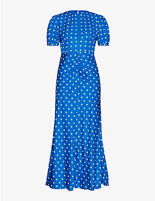 SELF-PORTRAIT: Polka dot-print satin midi dress