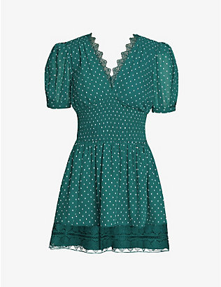 SELF-PORTRAIT: Puff-sleeve knot-embroidered woven mini dress