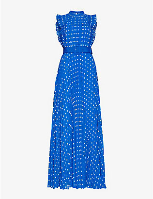 SELF-PORTRAIT: Polka dot-print pleated crepe maxi dress