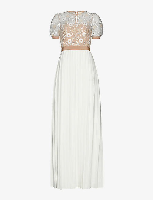 SELF-PORTRAIT: Sequin-embellished pleated mesh and woven maxi dress