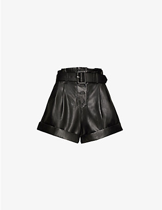SELF-PORTRAIT: High-rise wide-leg faux-leather shorts