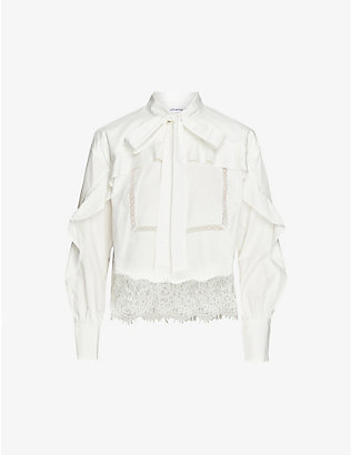 SELF-PORTRAIT: Lace-trim cotton shirt