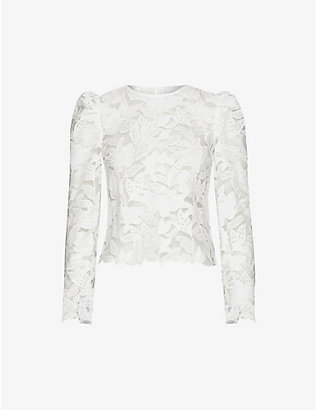 SELF-PORTRAIT: Floral-embroidered puff-shoulder lace top