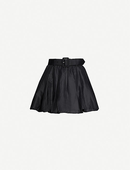 SELF-PORTRAIT: Pleated high-waist woven skirt