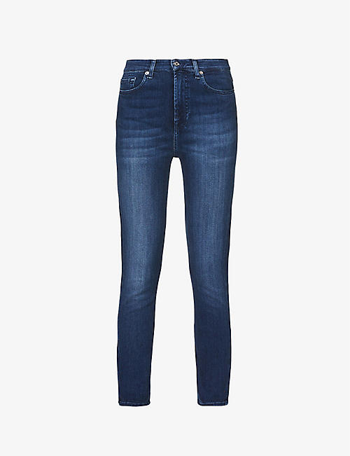 7 FOR ALL MANKIND: Aubrey faded high-rise skinny stretch-denim jeans
