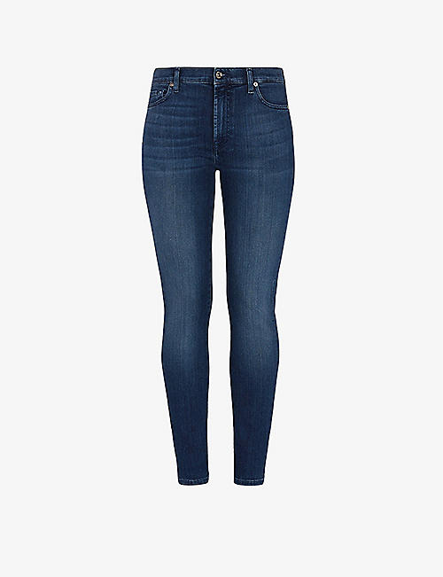 7 FOR ALL MANKIND: Faded high-rise skinny stretch-denim jeans