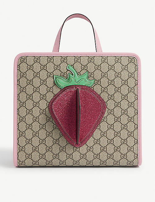 GUCCI: Kids strawberry logo-print canvas tote bag