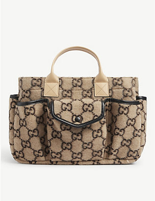 GUCCI: Kids GG-print boiled wool top-handle bag