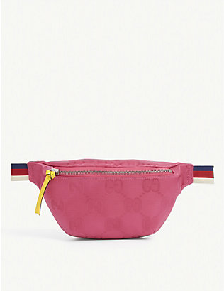 GUCCI: Kids GG monogram-print nylon bum bag