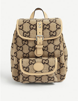 GUCCI: Kids GG-print boiled wool backpack
