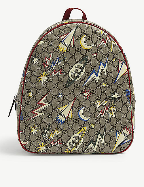 GUCCI: Kids Space logo-print leather backpack