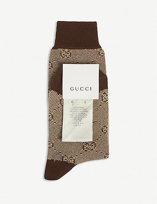 GUCCI: Kids GG Supreme logo-intarsia wool-blend socks 8-10 years
