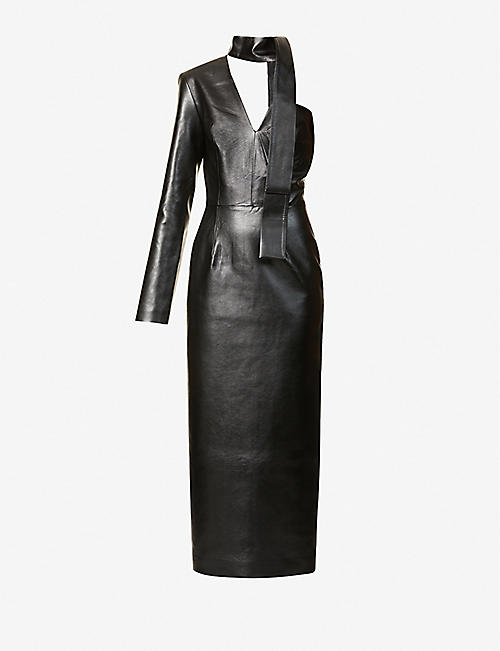 MATERIEL: Asymmetric faux-leather midi dress