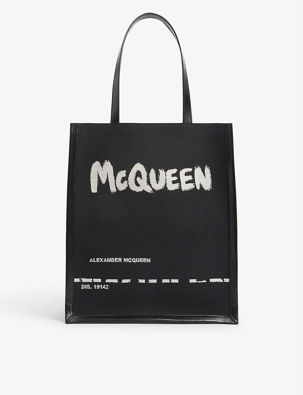 ALEXANDER MCQUEEN: Graffiti logo-print canvas and leather tote