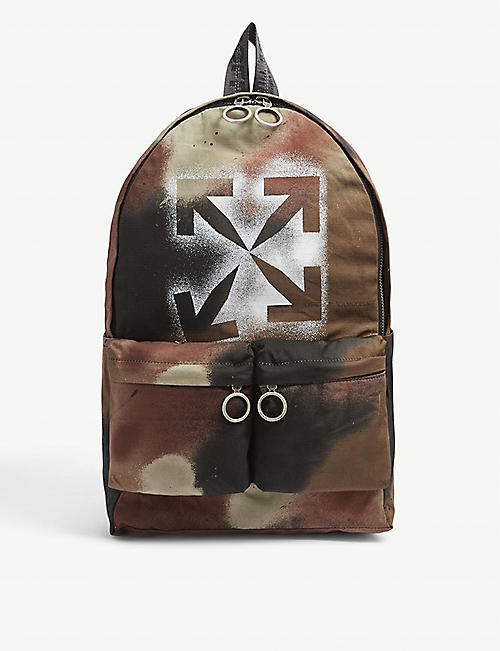 OFF-WHITE C/O VIRGIL ABLOH: Camouflage-print cotton backpack