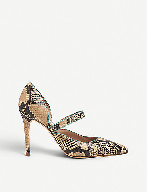 LK BENNETT: Florence picot-trim snake-print leather courts