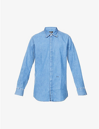 DSQUARED2: Logo-print oversized denim shirt