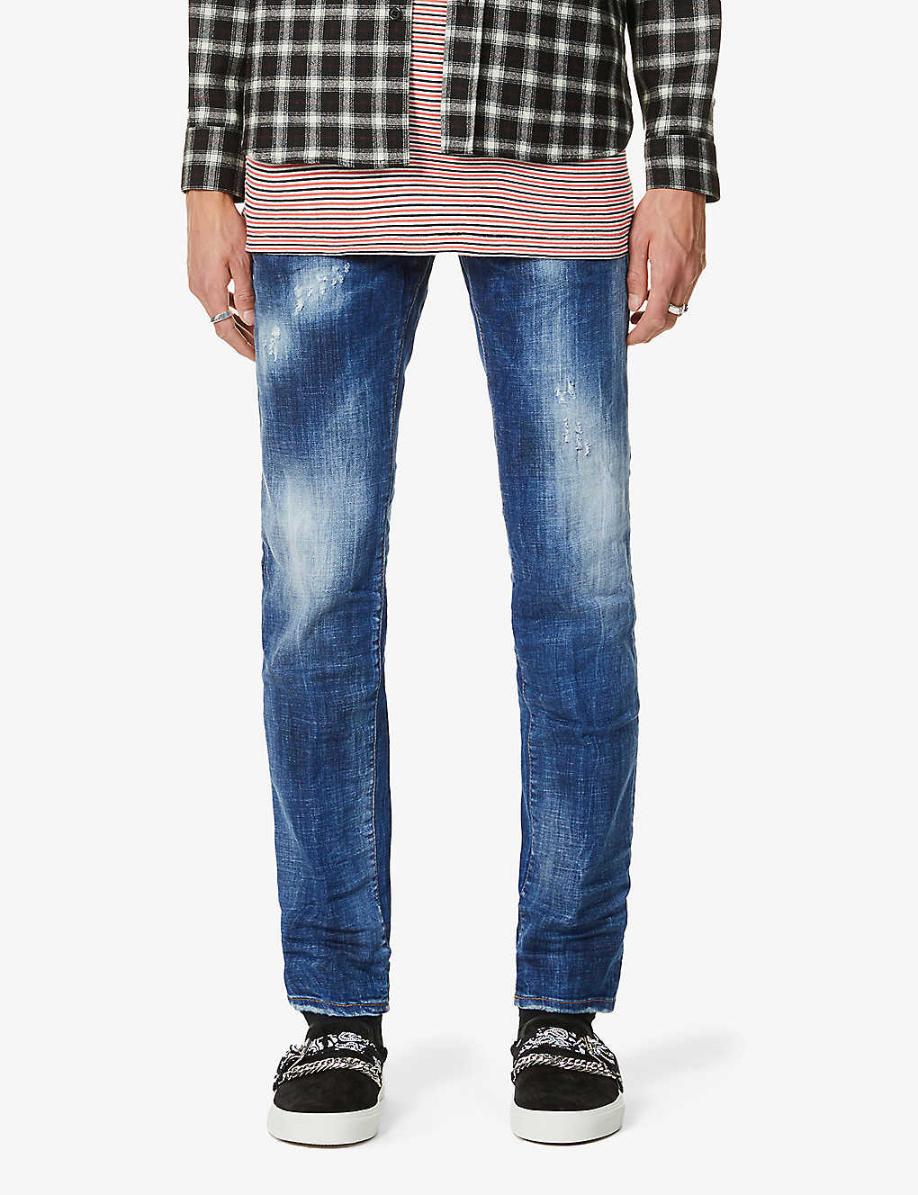 DSQUARED2: Mid-rise tapered-leg denim jeans