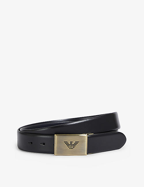 EMPORIO ARMANI: Brand-embossed buckle leather belt