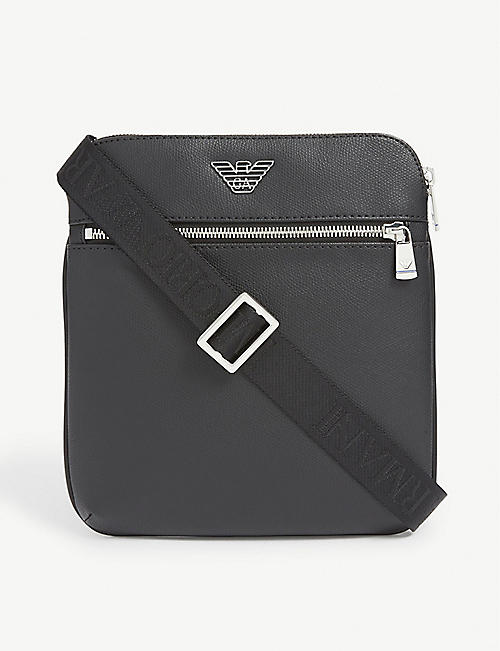 EMPORIO ARMANI: Logo-print grained leather cross-body bag