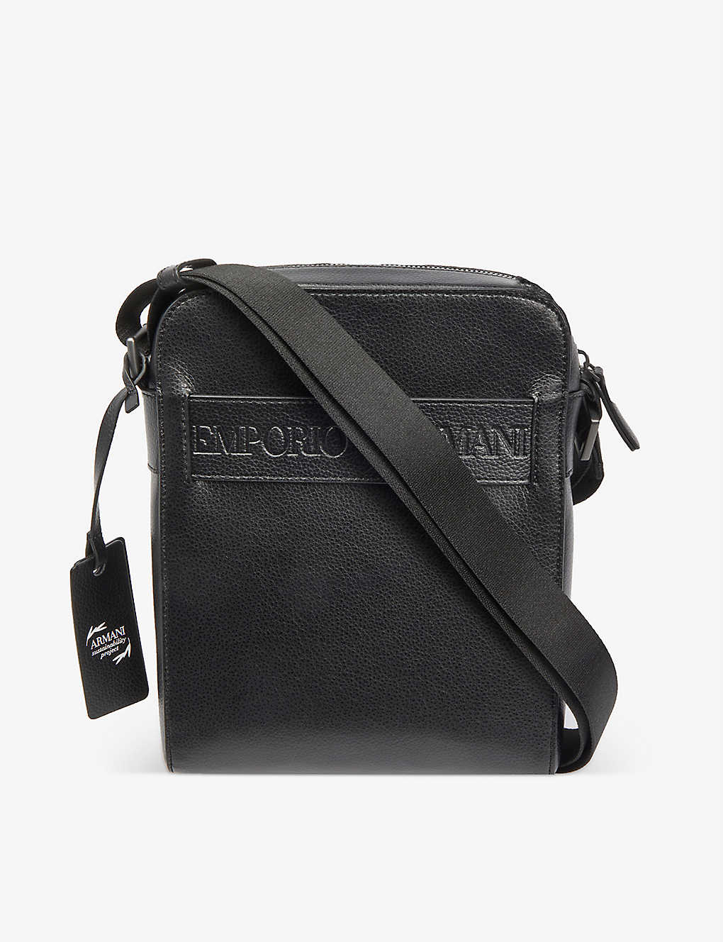 EMPORIO ARMANI: Logo-embossed faux-leather cross-body bag