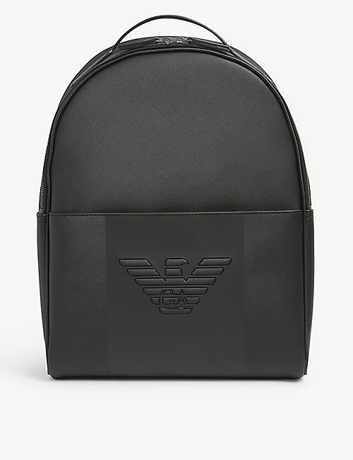 EMPORIO ARMANI: Logo-embossed nylon backpack