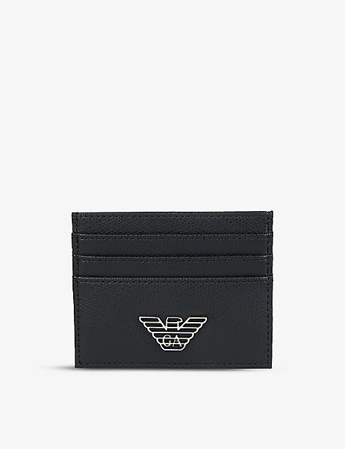 EMPORIO ARMANI: Metal eagle leather cardholder