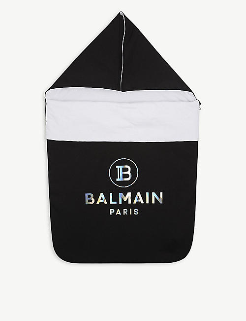 BALMAIN: Logo-print padded cotton nest blanket