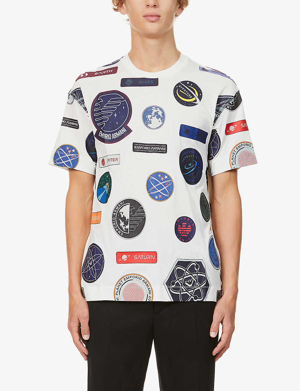 EMPORIO ARMANI: Patch-print cotton-jersey T-shirt