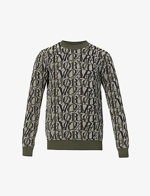 EMPORIO ARMANI: All-over text wool-blend knit jumper