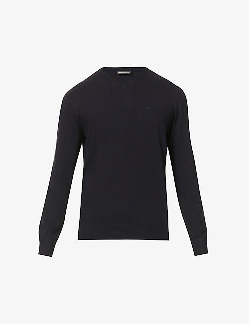 EMPORIO ARMANI: Eagle V-neck stretch-knit jumper