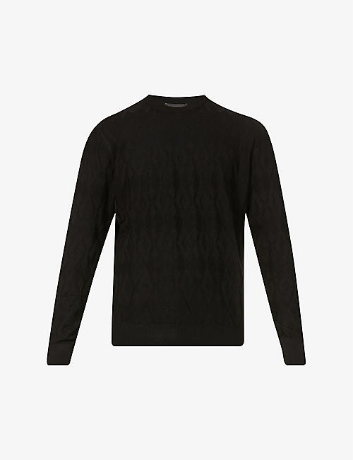 EMPORIO ARMANI: Textured stretch-knit jumper