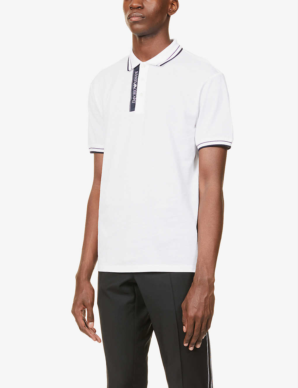 EMPORIO ARMANI: Branded collar cotton-piqué polo shirt