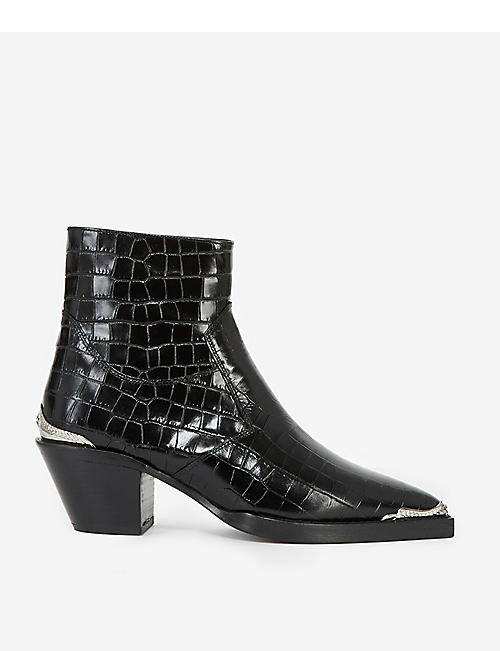 THE KOOPLES: Crocodile-embossed leather ankle boots