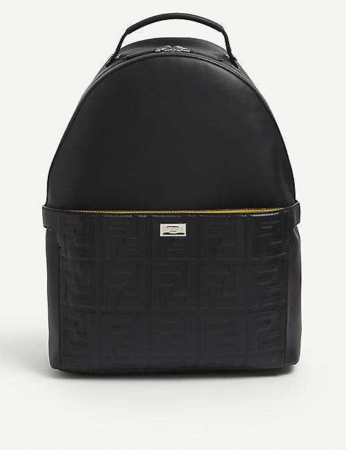 FENDI: Logo-embossed leather backpack