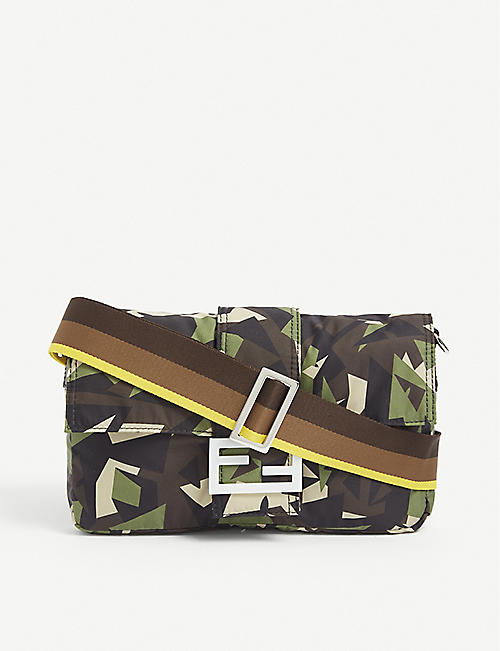 FENDI: Baguette geometric-print satin shoulder bag
