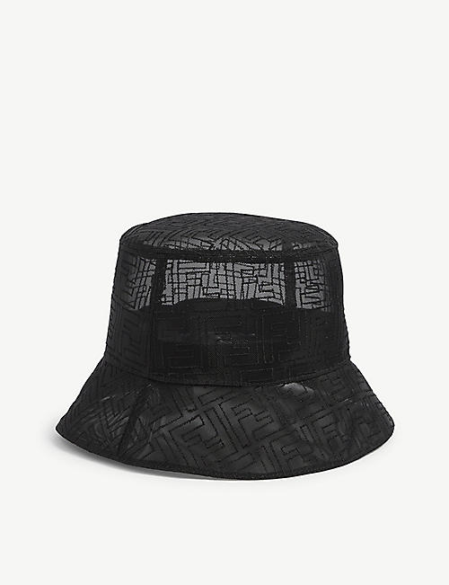 FENDI: FF-embroidered mesh bucket hat