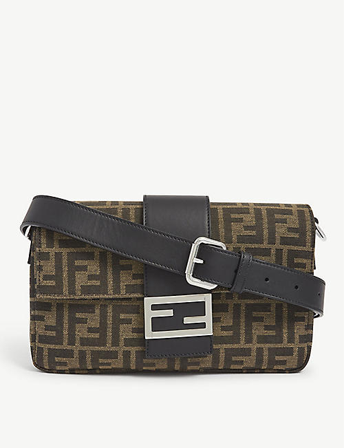 FENDI: Baguette logo-print canvas shoulder bag