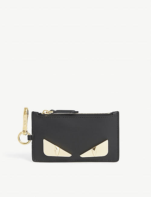 FENDI: Bug zip leather cardholder