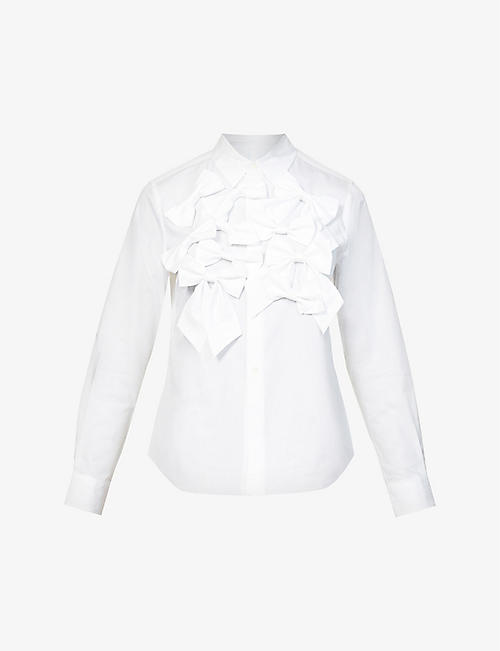 COMME DES GARCONS GIRL: Bow applique cotton shirt