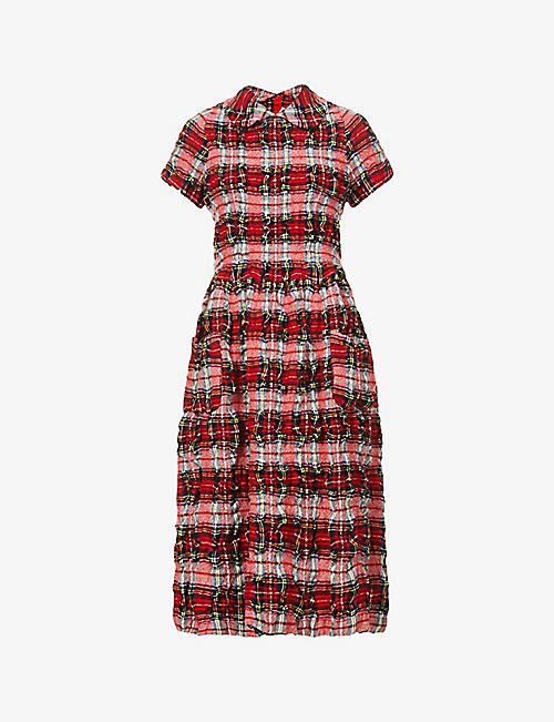 COMME DES GARCONS GIRL: Checked-print wool-blend midi dress