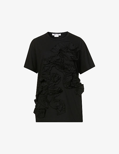 COMME COMME DES GARCONS: Frilled cotton-jersey T-shirt