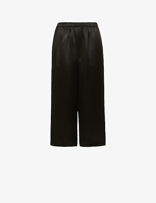 COMME COMME DES GARCONS: Relaxed wide-leg high-rise silk-satin trousers