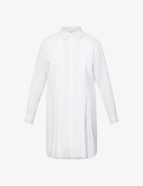 COMME COMME DES GARCONS: Button-up pleated cotton mini dress