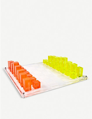 JONATHAN ADLER: Acrylic chess set 43.8cm